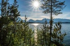 Puesta del sol en el lago Jackson Wyoming Foto de archivo libre de regalías