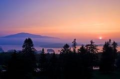 Puesta del sol en el lago Moosehead Fotos de archivo libres de regalías