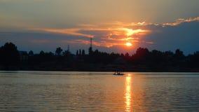 Puesta del sol en el lago Nigeen Fotografía de archivo libre de regalías