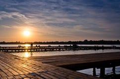 Puesta del sol en el lago Palic Imagen de archivo