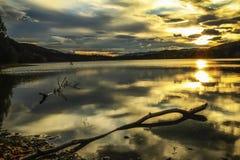 Puesta del sol en el lago Selbu Fotografía de archivo