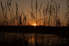 Puesta del sol en el lago tarde imagen de archivo