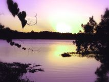 Puesta del sol en el lago turkey Imagen de archivo