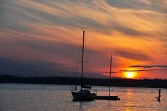 Puesta del sol en el lago Washington Fotografía de archivo