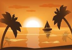 Puesta del sol en el mar libre illustration