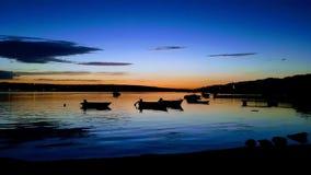Puesta del sol en el mar Fotografía de archivo