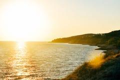 Puesta del sol en el mar adriático Imagenes de archivo