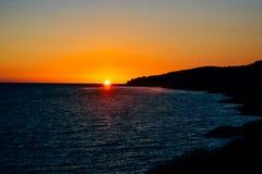 Puesta del sol en el mar adriático Imágenes de archivo libres de regalías