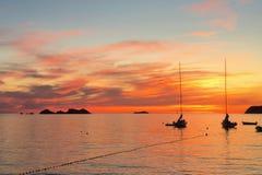 Puesta del sol en el mar adriático en Croacia Imagen de archivo