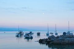Puesta del sol en el mar adriático en Croacia Fotografía de archivo