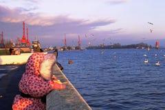 Puesta del sol en el mar Báltico fotos de archivo libres de regalías