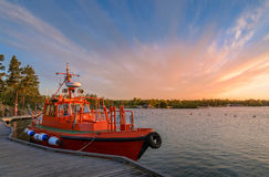 Puesta del sol en el mar Báltico Foto de archivo libre de regalías