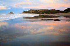 Puesta del sol en el mar de Cantrabrian Fotografía de archivo