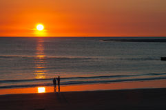 Puesta del sol en el Mar del Norte Fotografía de archivo libre de regalías