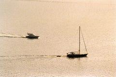 Puesta del sol en el mar mediteranian Fotos de archivo libres de regalías
