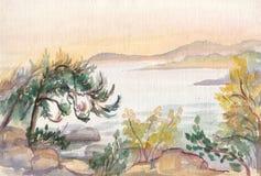 Puesta del sol en el mar Mediterráneo stock de ilustración