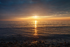 Puesta del sol en el Mar Negro Imagen de archivo