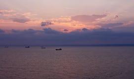 Puesta del sol en el Mar Negro. Bulgaria Foto de archivo libre de regalías