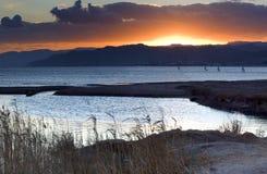 Puesta del sol en el Mar Rojo, Eilat, Israel Fotografía de archivo