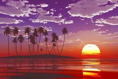 Puesta del sol en el mar tropical stock de ilustración