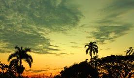 Puesta del sol en el medio de las zonas tropicales colombianas Sierra Nevada imágenes de archivo libres de regalías