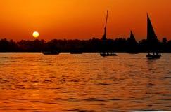 Puesta del sol en el Nilo Imágenes de archivo libres de regalías