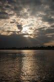 Puesta del sol en el Nilo Foto de archivo libre de regalías