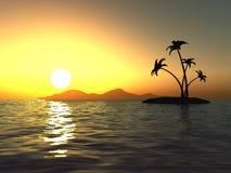 Puesta del sol en el océano y la isla desierta con las palmas Fotos de archivo libres de regalías