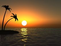 Puesta del sol en el océano y la isla desierta con las palmas Imágenes de archivo libres de regalías