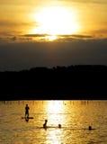 Puesta del sol en el ofStarnberg del lago Imagen de archivo