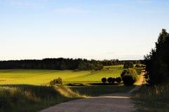Puesta del sol en el país Polonia del valle Fotos de archivo