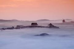 Puesta del sol en el paisaje marino fotografía de archivo libre de regalías