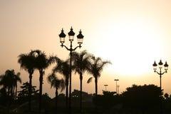 Puesta del sol en el palacio Foto de archivo libre de regalías