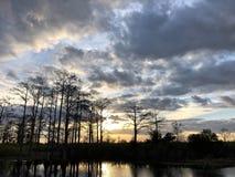Puesta del sol en el pantano foto de archivo