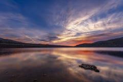 Puesta del sol en el pantano Imagen de archivo libre de regalías