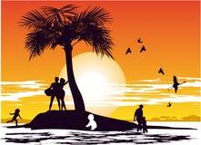 Puesta del sol en el paraíso de la isla Imagen de archivo