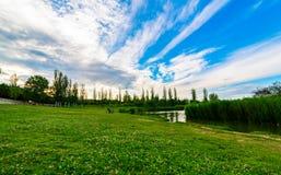 Puesta del sol en el parque de Turia en la orilla de la charca valencia imagen de archivo libre de regalías