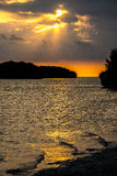 Puesta del sol en el parque nacional de los marismas Fotografía de archivo