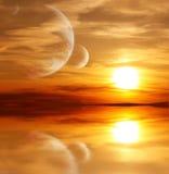 Puesta del sol en el planeta extranjero