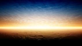 Puesta del sol en el planeta Marte Imágenes de archivo libres de regalías