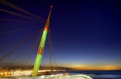 Puesta del sol en el puente del mar Imagen de archivo
