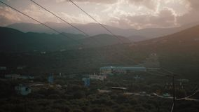 Puesta del sol en el puerto Creta Grecia de Heraklion almacen de video