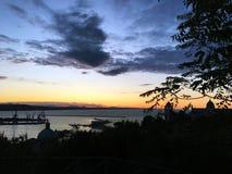 Puesta del sol en el puerto de Ancona foto de archivo libre de regalías