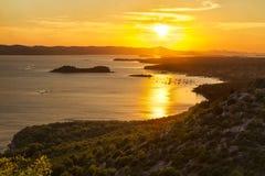 Puesta del sol en el punto de vista de ÄŒelinka Fotografía de archivo