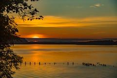Puesta del sol en el río Columbia del parque de la roca del gallo Fotos de archivo