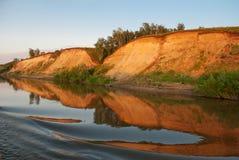 Puesta del sol en el río de Irtysh Imágenes de archivo libres de regalías