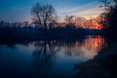 Puesta del sol en el río de Werra Fotografía de archivo libre de regalías