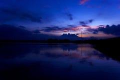 Puesta del sol en el río del yamuna Fotografía de archivo libre de regalías