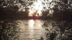 Puesta del sol en el río Dniéster 10 06 2015 años Fotografía de archivo libre de regalías