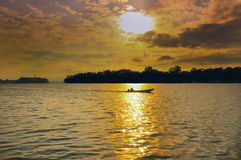 Puesta del sol en el río Sava Fotografía de archivo